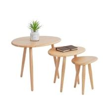 цены Small coffee table combination oak wood corner modern minimalist creative oval solid wood sofa side table