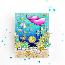 Naifumodo Metal Cutting Dies Scrapbooking Sea World Stamp and Die Fish Craft Dies for Cards Making Crab Clear Stamps New 2019