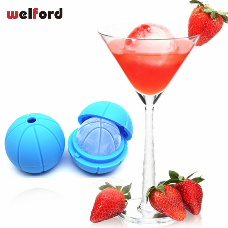 2018 Summer Whisky Cool Ice Cube Maker Silicone Mold Round Basketball Ice Maker Tray Desert Mold Sphere Party Mould Brick
