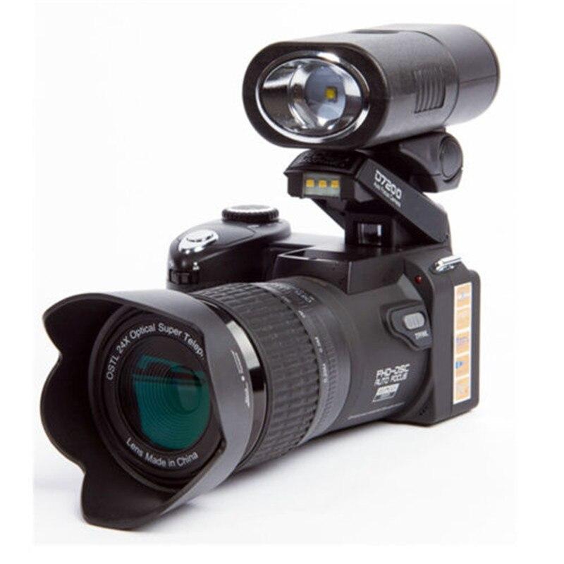 Cámara Digital POLO D7200, 33MP, 1080P, autofoco, SLR, cámaras de vídeo HD 24X + teleobjetivo, lente gran angular, bolsa de relleno de luz LED Medidor de vídeo y adaptador BNC ESCAM de 5M a 60M, potencia 12V CC, Cable integrado para cámara analógica CCTV DVR, Kit de sistema de cámara