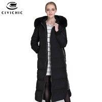 Civichic высокое качество женские утепленные Подпушка куртка с капюшоном меховой воротник теплое пальто Зимняя Повседневное парка Гага Подпуш