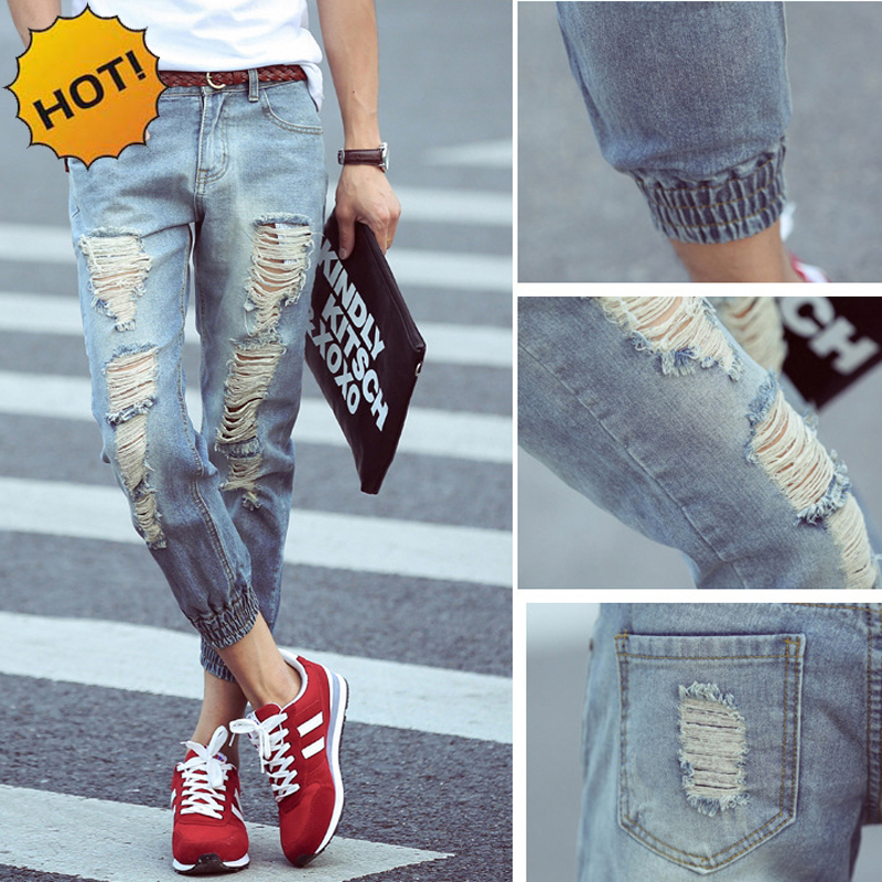 Fashion Summer Hole Ripped Distressed Jeans Teenagers CowBoys Ankle Banded Pants Retro Slim Fit Harem Ankle Length Pants 28-34