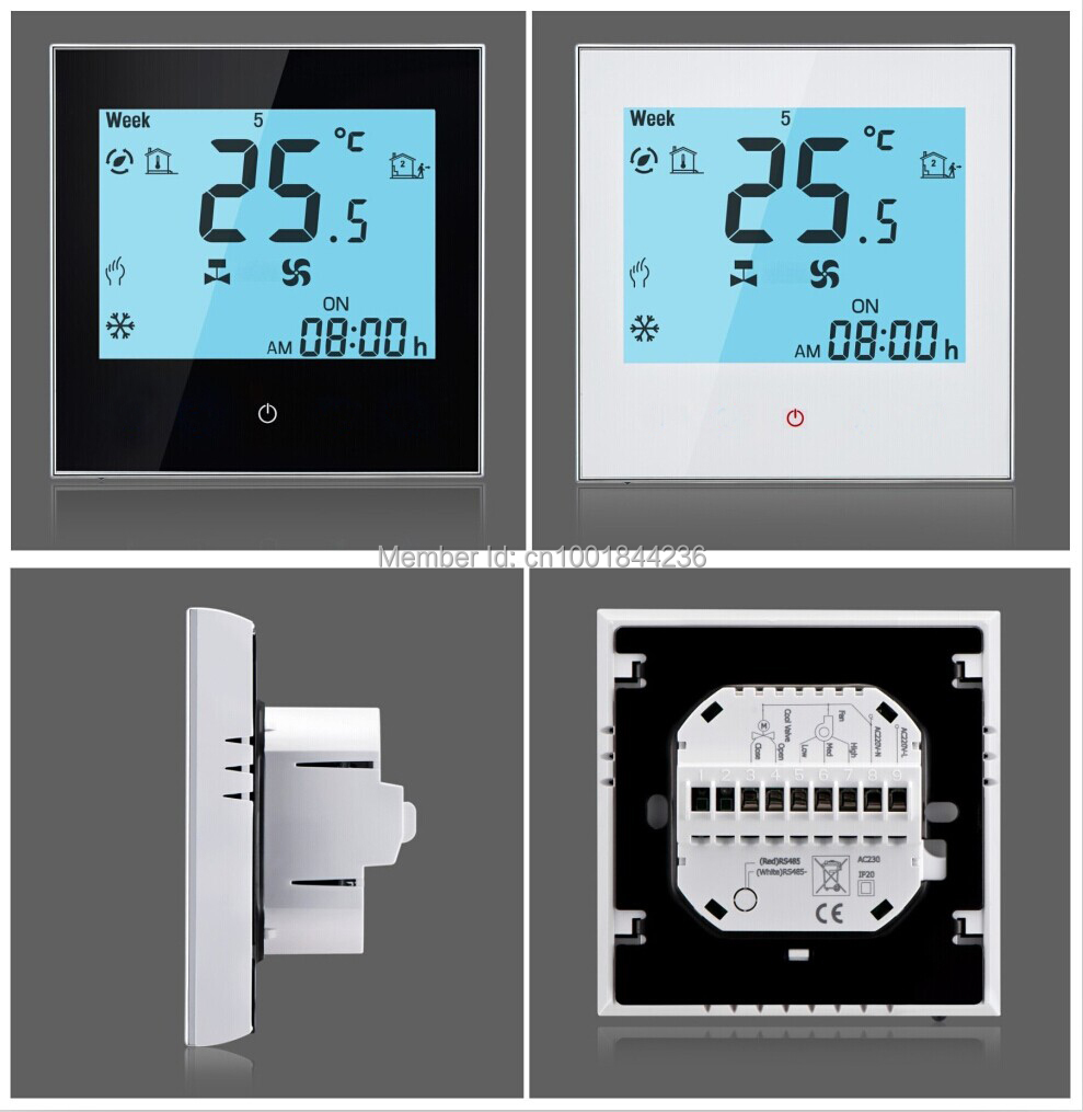 Modbus Room Thermostat For Fan Coil Unit Hvac System White