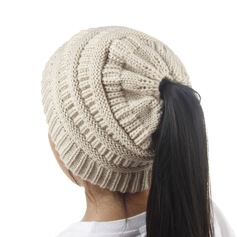 32595c1c6b3 Girls Knitted Hat Autumn Winter Warm Bun Ponytail Beanie Hats Kids Messy  Stretch Outdoor Warmer Skullies Children Cap CP0089-in Hats   Caps from  Mother ...
