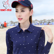 novel.mice 2017 New Brand Autumn and winter Women Long sleeved Polos Female Cotton Printed Loose Casual Polo Shirts Plus Size