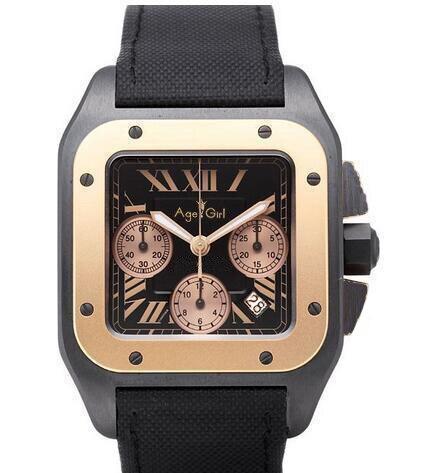 Marque de luxe Nouvelle Montre Homme Quartz Chronographe Chronomètre Saphir En Acier Inoxydable Santos Lumineux Montres Noir En Cuir Or AAA +