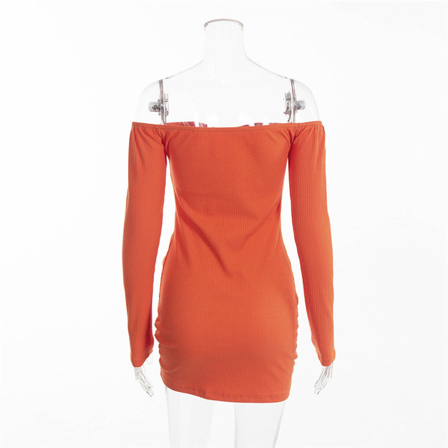 Long Sleeve Tie Ruched Bodycon Dress