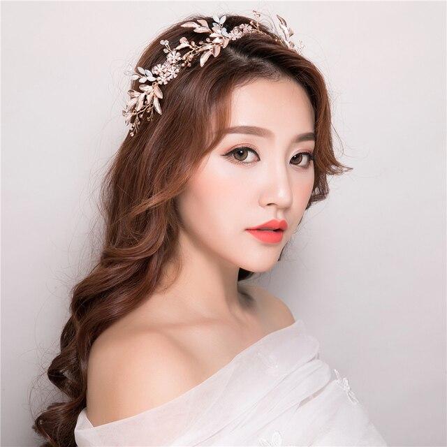 Handmade New Gold Color Headband Hair Accessories Leaves Design Korean Style Rhinestone Hairband Party Wedding Headdress