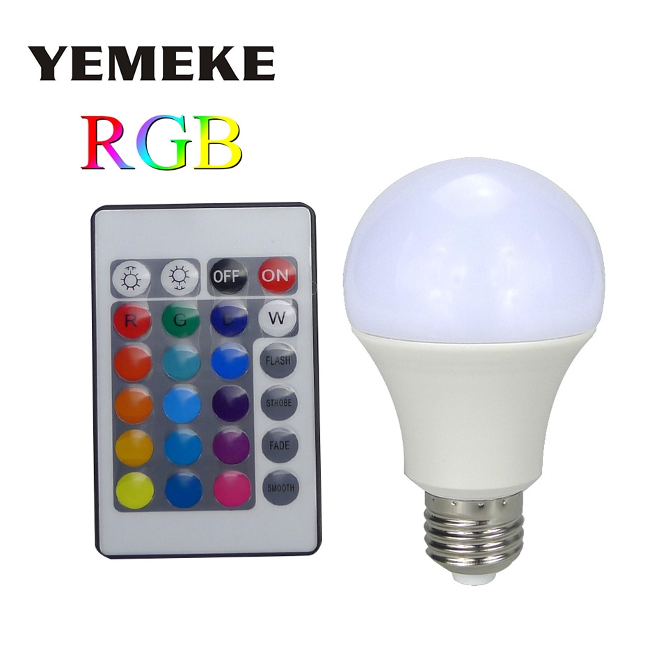 new e27 rgb led lamp 3w 5w 7w led rgb bulb light lamp 110v 220v remote control 16 color change. Black Bedroom Furniture Sets. Home Design Ideas
