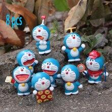 8 pcs Anime cartoon lovely cute garage kit figures 8 Doraemons blue cat toy key ring Decoration PVC hard gift for 8+ years old
