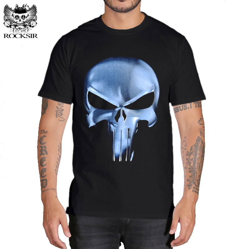 Rocksir punisher t-shirt Mænd Sommer straffer Skull Head Grim 3D 100% Bomuld t-shirts til mænd Casual Short Sleeves Brand t-shirt