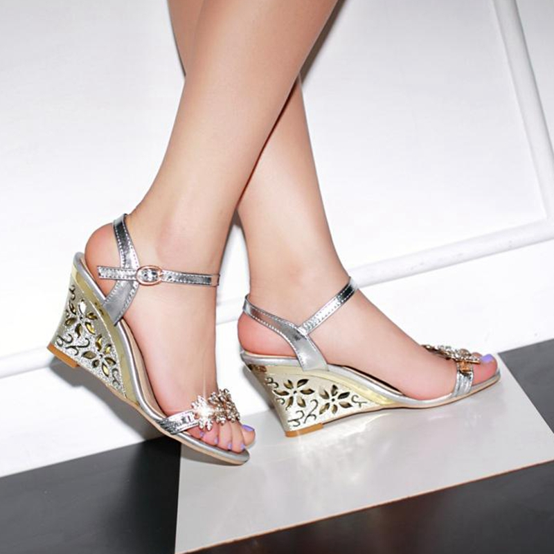 77e62b168 salto anabela asapato Sexy Elegant Fretwork Heels Wedges sandals Wedding  Summer sandals Rhinestone Fretwork Silver Gold-in Women s Sandals from  Shoes on ...