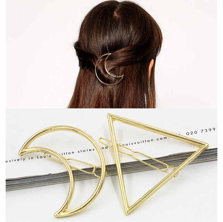 Fashion Hair Clip for Women Elegant Design Triangular Moon Lip Round Barrette Stick Hairpin Hair Pins Head Geometry Accessories