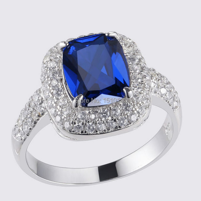 925 Sterling Silver Wedding Ring Blue CZ Classic Jewelry For Women