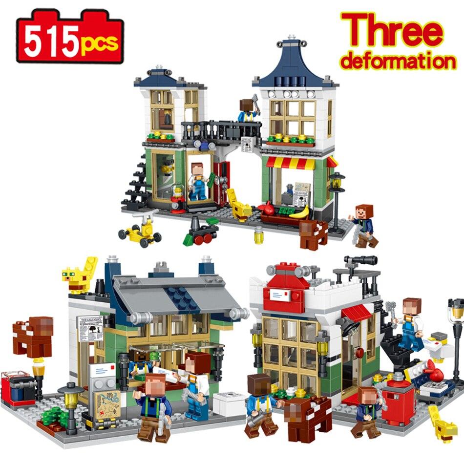 Qunlong 515pcs My Village Architecture Building Block Compatible Legoed Minecraft DIY Brick model building toys for children lepin 22001 pirate ship imperial warships model building block briks toys gift 1717pcs compatible legoed 10210