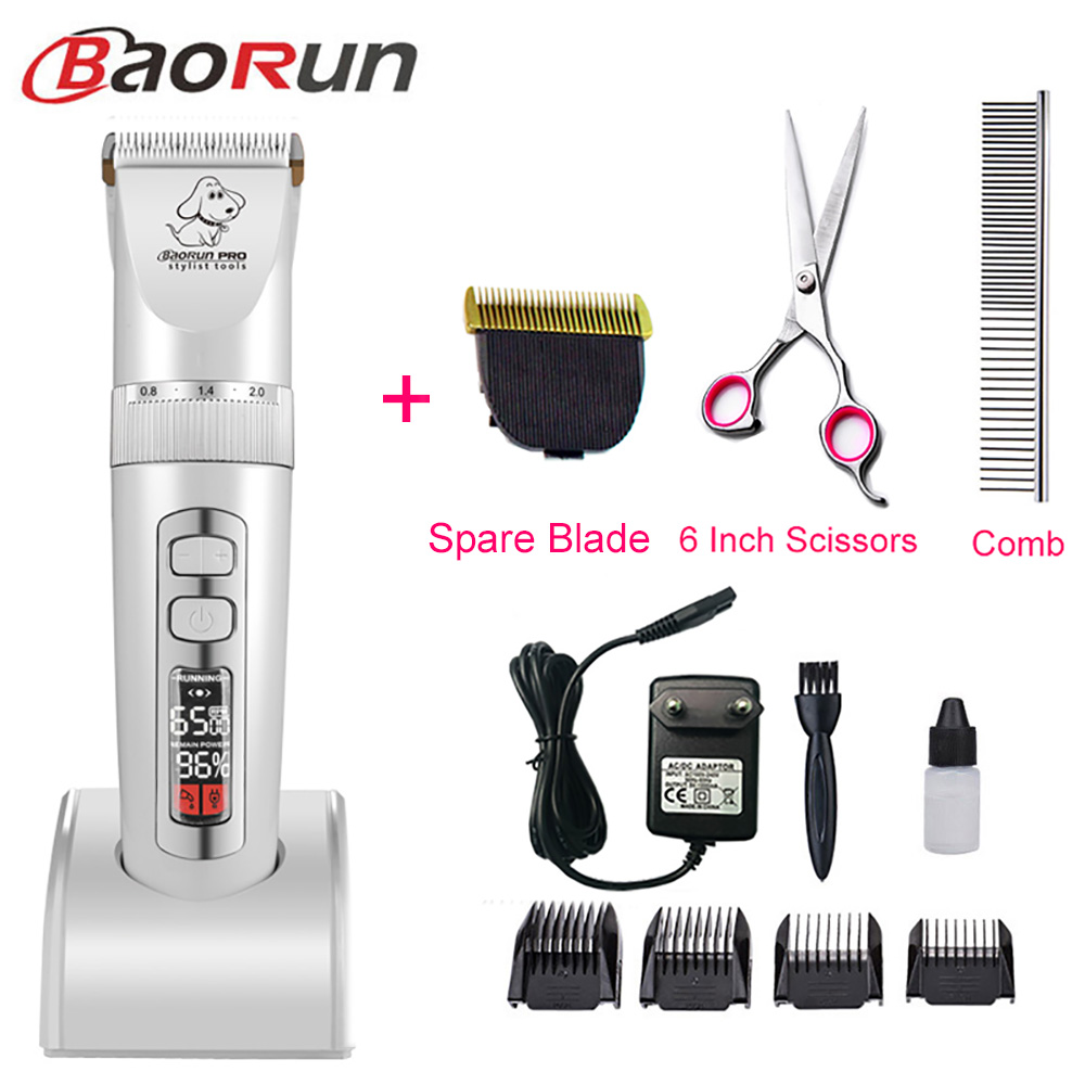 Baorun P9 Clipper Dogs Professional LCD Screen Pet Cat Clippers Electrical Grooming Trimmer Rechargeable Haircut Machine