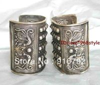 free P&P >>>>>Tibet Old Silver Carved Phoenix Cuff Big Tribal Jewelry Bracelet