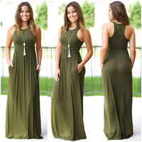 Free Shipping Ladies Vest Long Dress Spring and Summer New Women Explosions Solid Color Dress Sleeveles