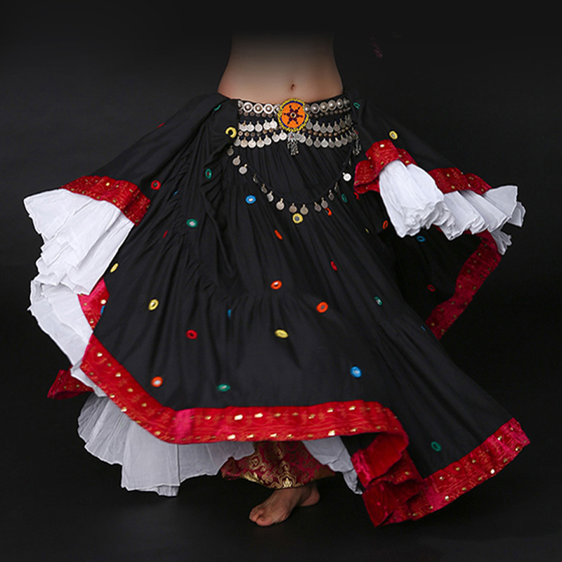 2018 Ats Tribal Belly Dance 10 Meters Gypsy Cotton Long Full Circle Skirt Printed Cotton Spanish Flamenco Clothing Skirts