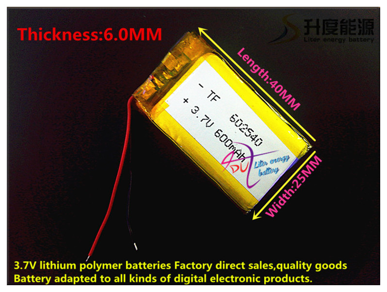 Free delivery 3.7V,600mAH,[602540] Polymer lithium ion / Li-ion battery for DVR RECORD,MP3,MP4,TOY,GPS,SMART WATCH,SPORT CAMERA