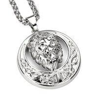 75cm Wholesale High Quality Hip Hop Rock Jewelry Lion Head Alloy Charms Pendant Necklace Vintage Chain