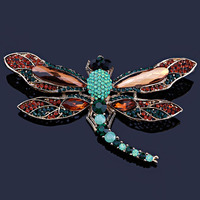 Luxury Crystal Large Dragonfly Brooch Vintage Rhinestone Brooch For Women Scarf Dress Clip Pins