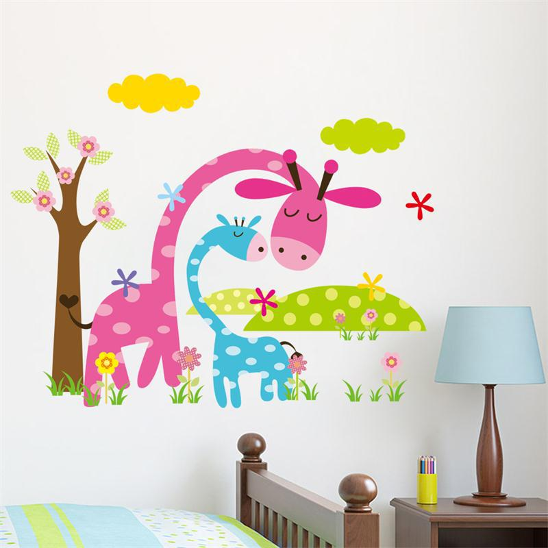 Candy Color Jungel Wild Animals Cartoon Wall Stickers For Kids Room
