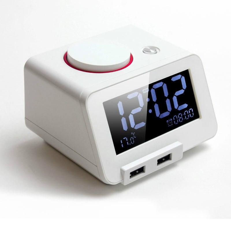 Multifonction électronique réveil LED muet veilleuse ruban de couchage thermomètre surdimensionné sonnerie