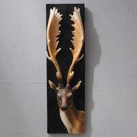American deer head animal head wall hanging creative retro three dimensional porch hanging Arts Crafts wall sculpture decoration