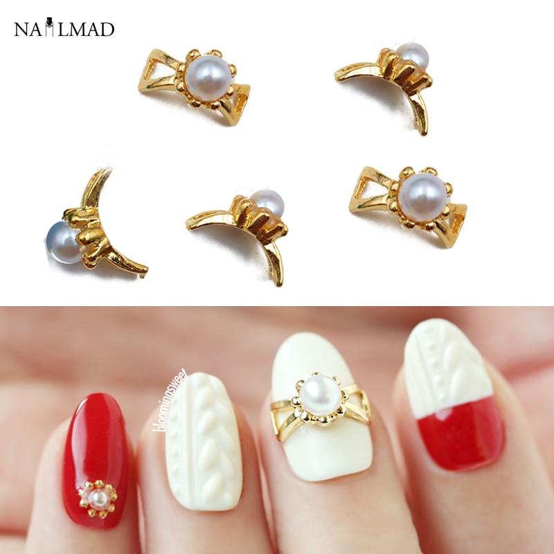 5pcs Gold Bowknot Nail Art Decoration Metal 3D Nail Studs Shiny ...