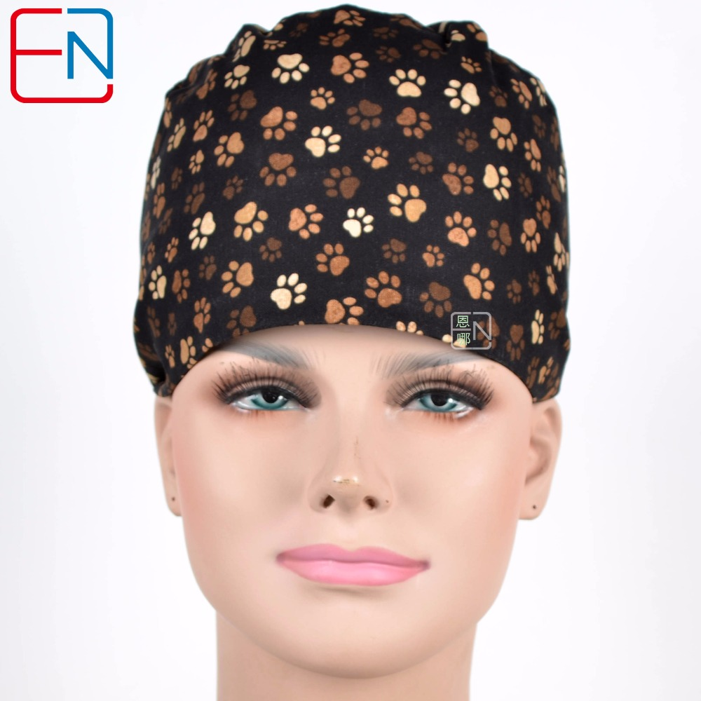 Hennar Scrubs Caps Masks Sets Women Medical Accessories Surgical Hospital Clinical Cotton Adjustable High Quality Cap New