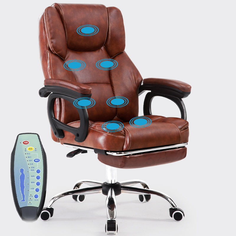 Multifunction Massage Chair Thicken Comfortable Computer Chair Lifted Rotation Reclining Chair with Footrest PU Swivel Chair