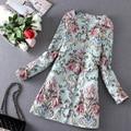 2016 Primavera Casaco Mulheres Flor 3D Bordado Trench Coat Sobretudo Feminino Casacos Mulheres Cardigan Casaco Femme Azul S-XL