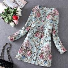 2016 Spring Coat Women 3D Flower Embroidery Trench Coat Sobretudo Feminino Casacos Women Cardigan Blue Coat Femme S-XL