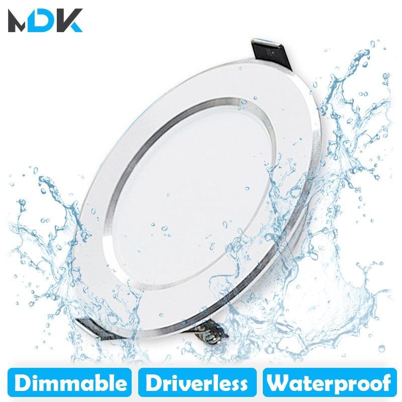 LED Downlight Dimmable 5W 7W 9W 12W 15W étanche blanc chaud blanc froid encastré lampe à LED Spot lumière AC220V 230V
