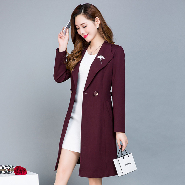 0347496011d Women Trench Coat 2018 New Autumn And Winter Korean Plus Size Slim Trench  Coat Female Solid Color Lacing Waist Women s Coat C386