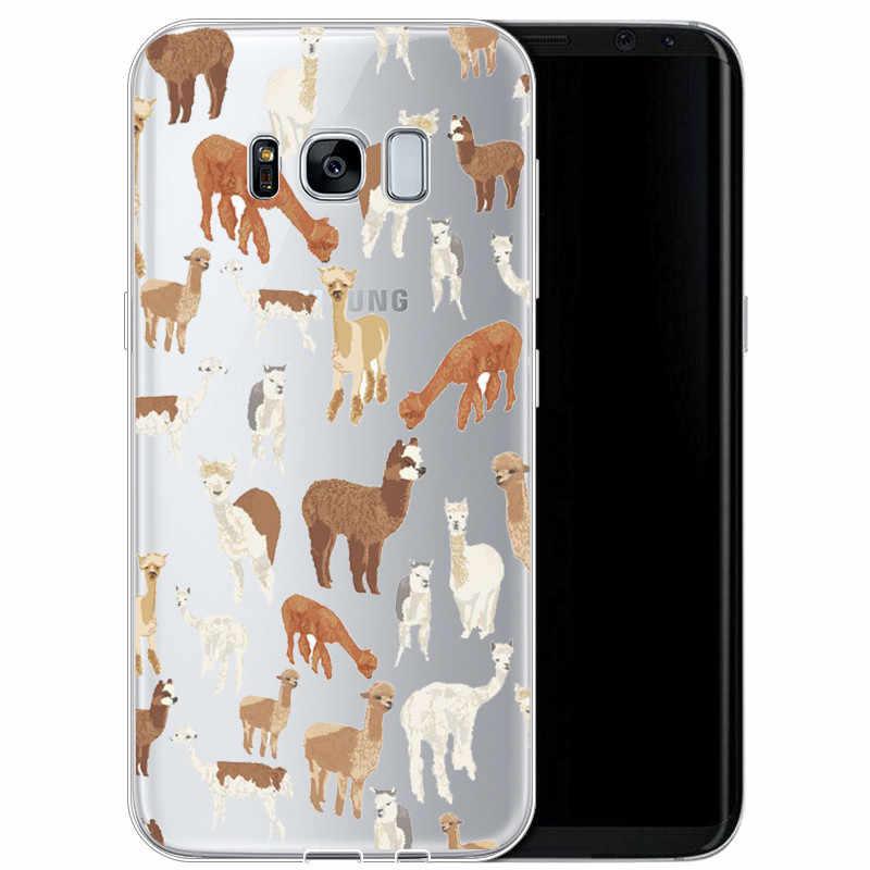 Đáng Yêu Lạt Ma Llama Alpaca Mềm TPU Ốp Điện Thoại Di Động Trường Hợp Cho Samsung 2017A5 S7EDGE S9 S8PIUS 2018A8 A6 A8PIUS NOTE8 NOTE9