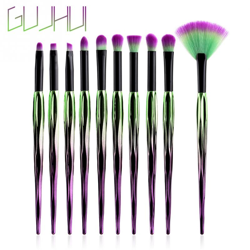 GUJHUI 7/8/10pcs Eye Makeup Brush Set Green Purple Black Tube Fan-shaped Soft Brush Cosmetics Tool