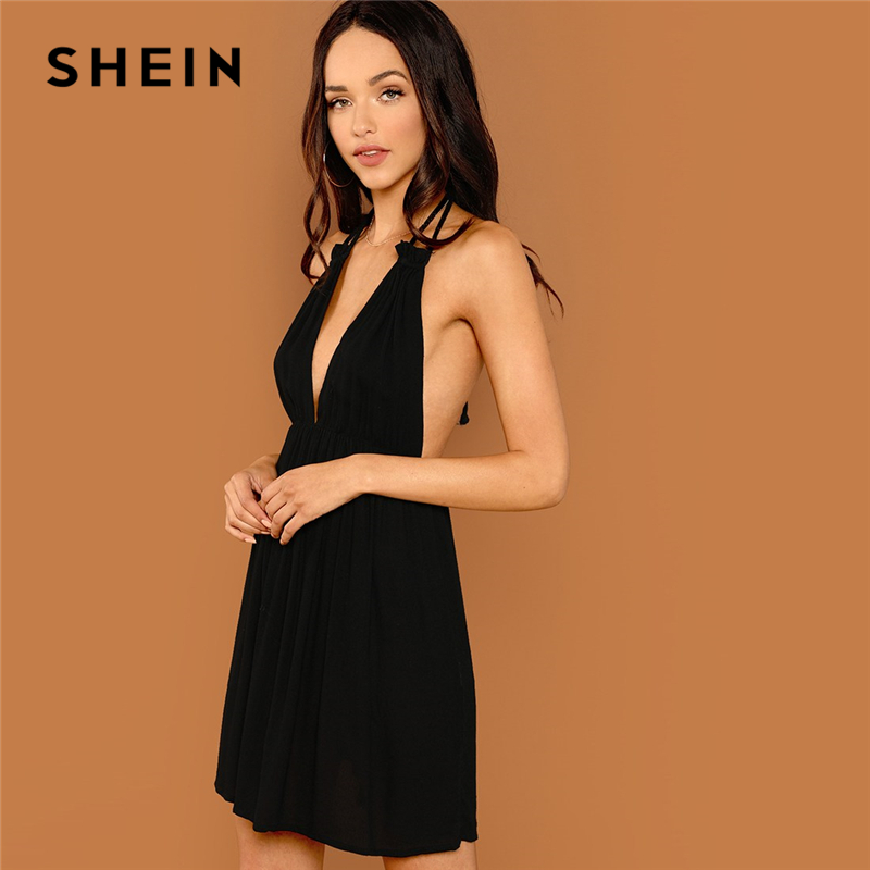 SHEIN Black Party Sexy Backless Solid Wrap Sleeveless Natural Waist Cami  Short Dress Summer Club Night Out Women Dresses-Leather bag