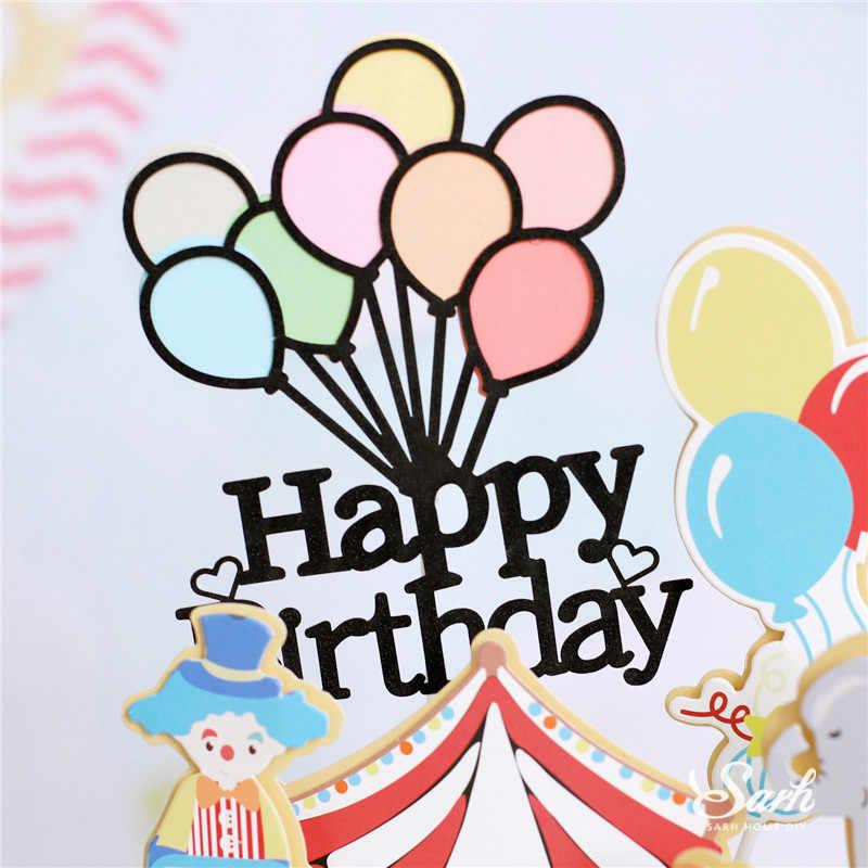 Ins de Circo e Palhaço Festa Bolo Topper Cozimento Suprimentos Feliz Aniversário Balão Cor Decoração para Crianças Kid Presentes Doces