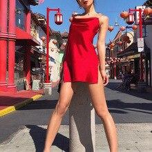 sexy backless suspender dress satin fashion woman clothes red vestido white ladies dresses ukraine party jurk elegant jurken new