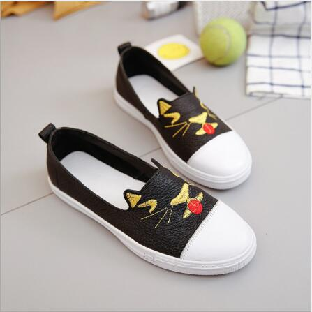 2018 autumn new fashion cute cats round head comfortable flat shoes students casual shoes maoxin cute cat head finger grip metal ring kickstand for smartphones blue cats