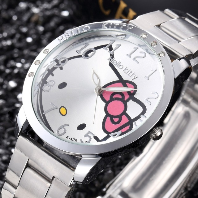 Full Steel Hello Kitty Cartoon Watches Fashion Quartz Women Dress Watch Rhinesto