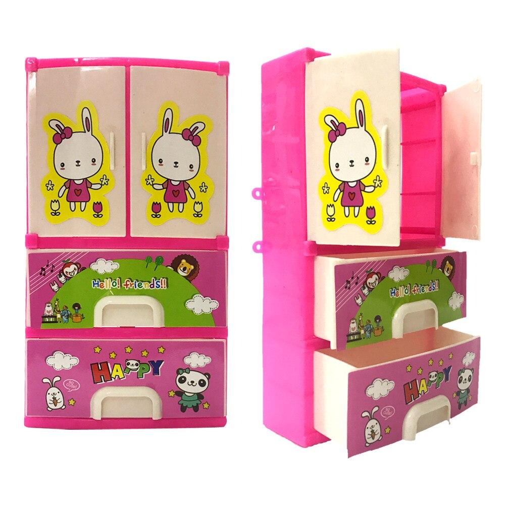 Online Shop Nk 7 Pcs Set Boneka Aksesoris Furnitur Lucu Mainan Princess 2018 Terbaru Bayi Kartun Pencetakan Closet Lemari Untuk Barbie Doll Gadis
