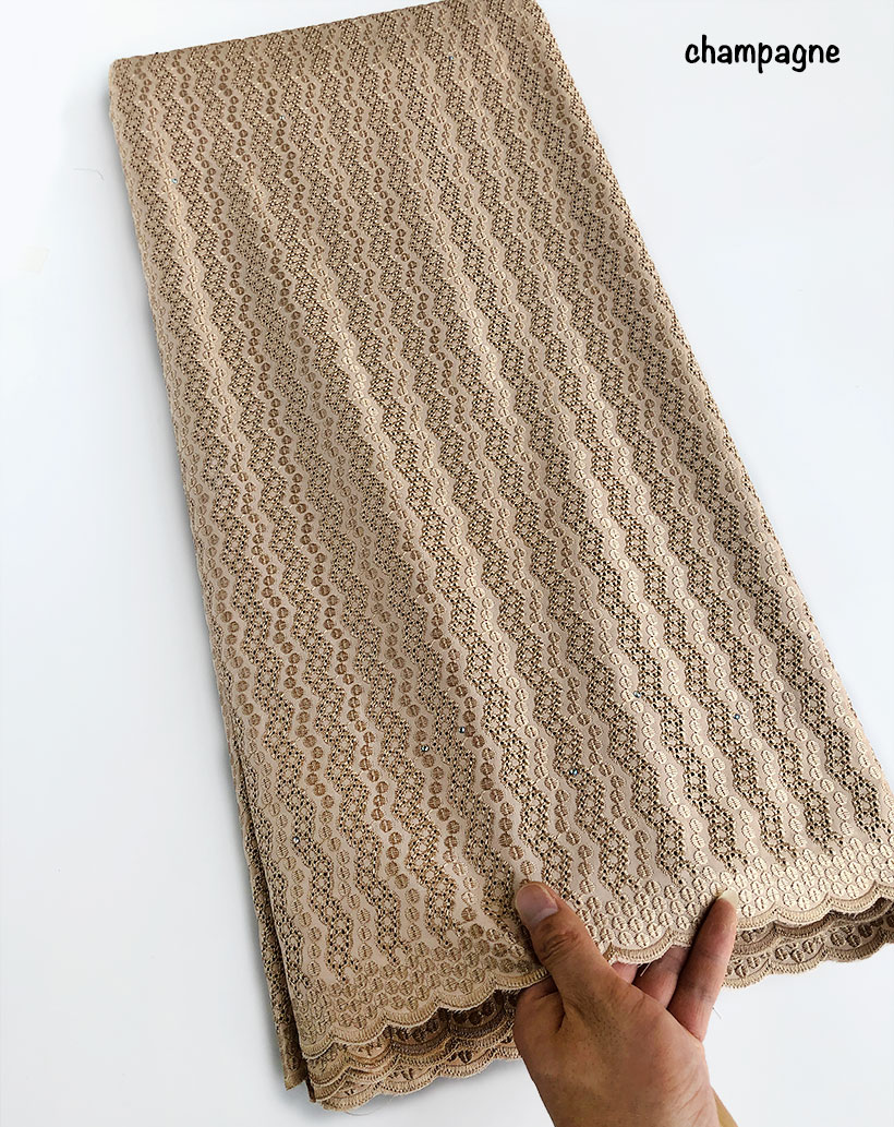Champagne gold polish cotton lace for men African voile lace Swiss fabric High quality 5 yards per piece Hot saleChampagne gold polish cotton lace for men African voile lace Swiss fabric High quality 5 yards per piece Hot sale