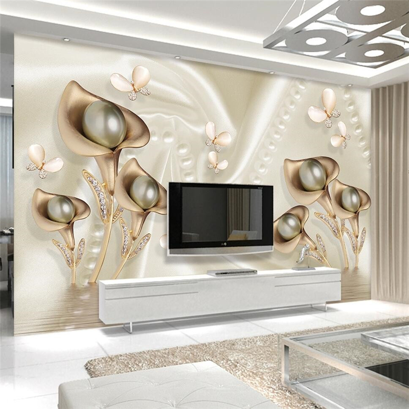 Beibehang Custom Photo Wallpaper Mural 3d Calla Leaf Butterfly Silk Water Reflection Video Background Wallpapers Papel De Parede
