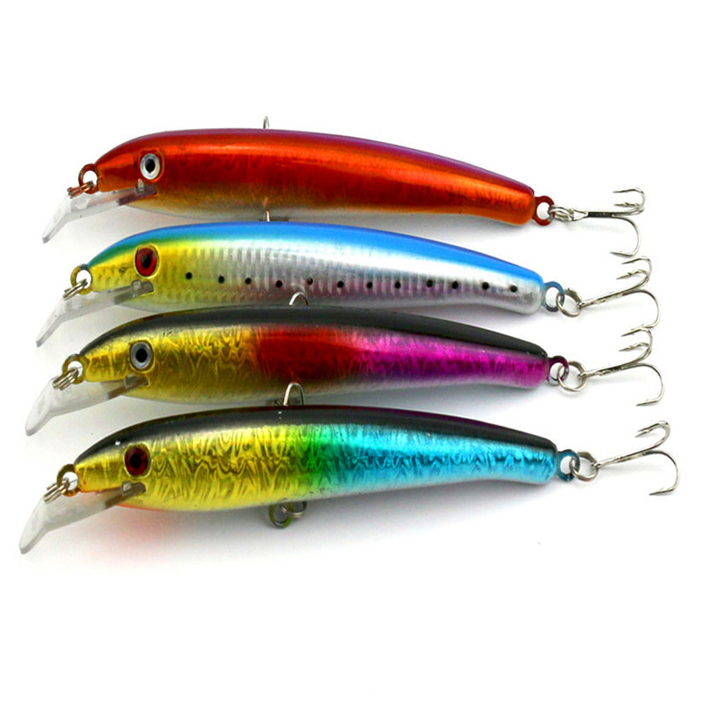 Freshwater fish bait - Top Quantity Pencil Plastic Fishing Lure Artificial Bait Feather 170mm 26 3g 4 Color 3d Eyes Depth 0 9 2 6m 2 Strength Hooks