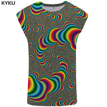KYKU Psychedelic Tank Top Men Dizziness Singlet Harajuku Ftness Clothing Colorful Stringer Fantasy Mens Bodybuilding