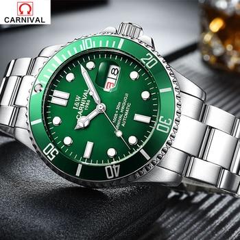 Luxury Brand CARNIVAL Fashion Male Steel Strap Automatic Mechanical Watches Men's Sports Military Wrist Watch relogio masculino