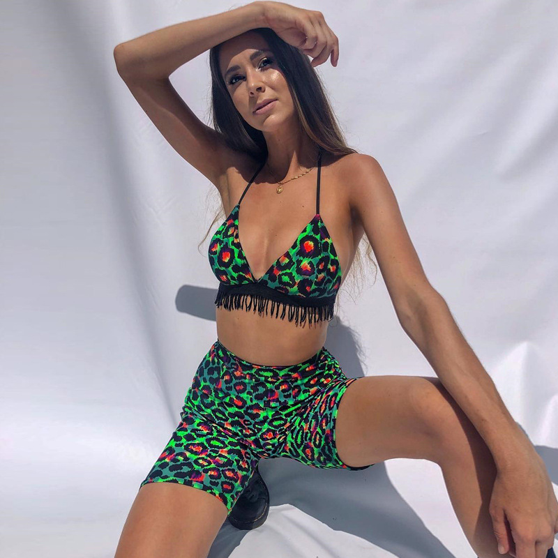 SKMY Leopard tassel halter one piece crop top shorts two set summer clothes for women sexy club costume 2019 new product